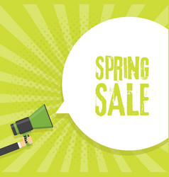 Spring sale announcement megaphone in retro vector
