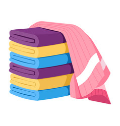Stack folded towels with one draped on top vector