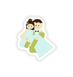 stylish paper sticker on white background groom vector image