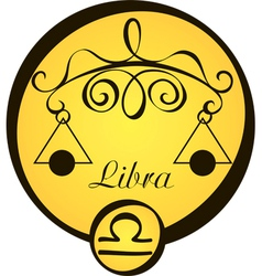 stylized zodiac signs in a yellow circle libra vector image