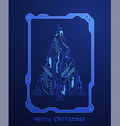 technology christmas tree from digital electronic vector image