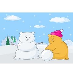 Teddy bear sculpturing snowball vector