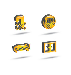 three dimensional house equipment icon set vector image