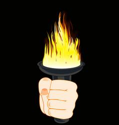 Torchlight in hand vector