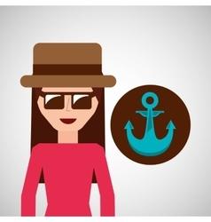 toursit female hat sunglasses anchor marine vector image
