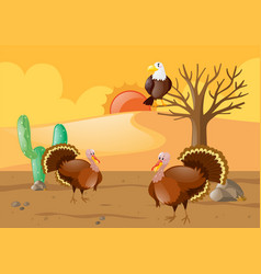 Turkeys and eagle in desert vector