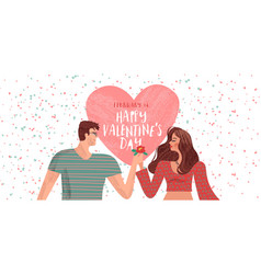 valentines day cartoon couple in love card vector image