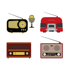 Various retro radio receivers vector