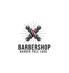 Vintage hand drawn crossed barber pole logo vector