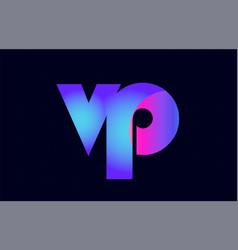 Vp v p spink blue gradient alphabet letter vector