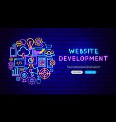 website development neon banner design vector image