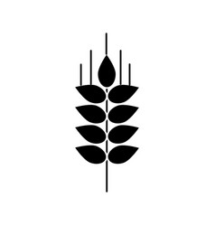 wheat sprig icon black sign vector image