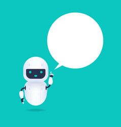 White friendly android robot with speech bubble vector