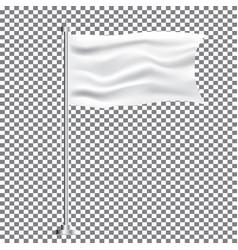 white textile waving empty flag on transparent vector image
