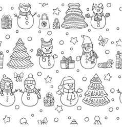 Winter christmas seamless pattern with snowmen vector