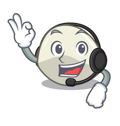 With headphone mozzarella cheese isolated on vector