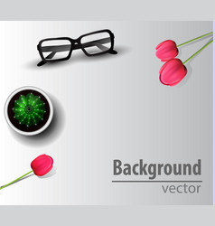 Woman blogger workspace with glasses vector