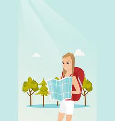 Young caucasian traveler woman looking at map vector