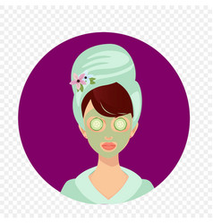 Young girl with towel on head and cucumber on eyes vector
