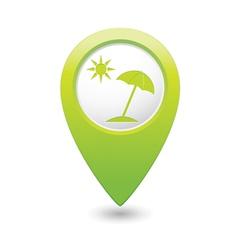 beach icon green map pointer vector image vector image
