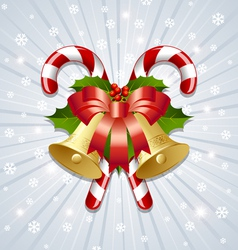 Candy canes and bells decoration vector image