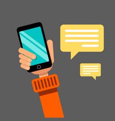 hand holding smartphone communication via social vector image vector image