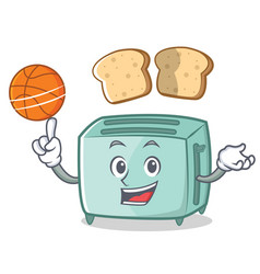 playing basketball toaster character cartoon style vector image