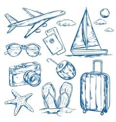 Travel Elements Sketch Set vector image vector image