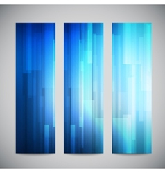 Blue low poly vertical banners set with vector image vector image