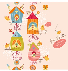 Funny bird nests seamless pattern vector image vector image