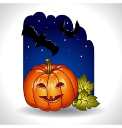 Halloween background with pumpkin and bats vector image