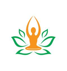 Leaf nature yoga meditation logo vector