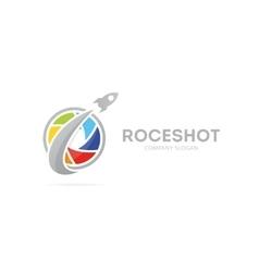 Rocket and camera shutter logo vector