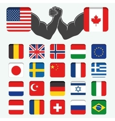 Set of Round Flags world vector image