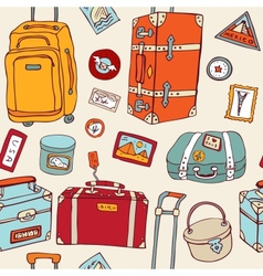 Travel seamless background suitcases and bags vector