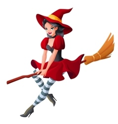 Woman in dark red Halloween costume of witch vector image