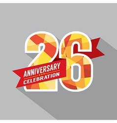 26th Years Anniversary Celebration Design vector image