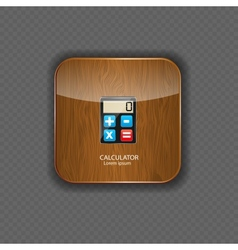 Calculator wood application icons vector image vector image