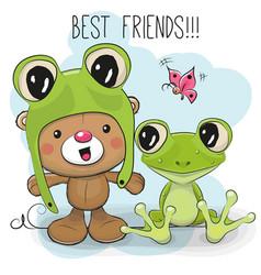 cute bear and frog vector image