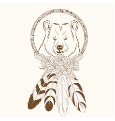 dream catcher with bear feathers hipster vector image vector image