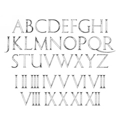 Modern Roman Classic Alphabet with numbers vector image