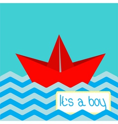 Baby boy shower card with red paper boat vector image