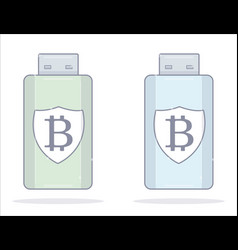 bitcoin wallet usb flash drive cartoon style vector image vector image