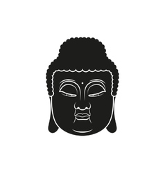 Black head of buddha with om mantra isolated vector