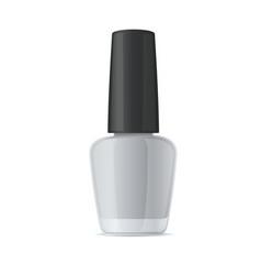 Blank nail polish bottle mockup template on white vector
