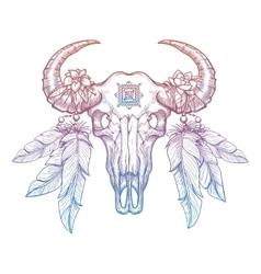Colorful buffalo skull vector image