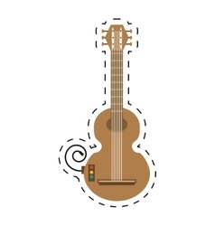 guitar musical instrument icon dotted line vector image
