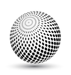 halftone effect sphere in black and white vector image