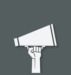 hand with megaphone symbol vector image vector image