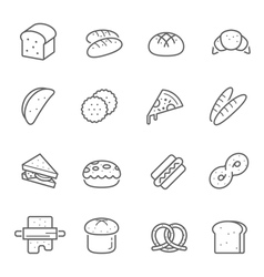 Lines icon set - bread and bakery vector image vector image